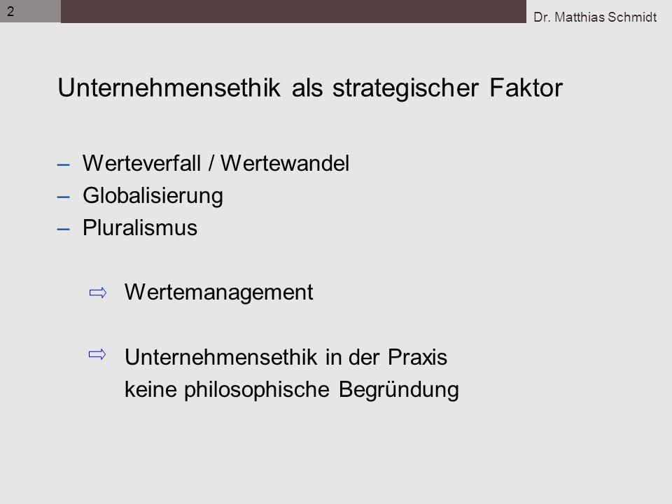 Dr. Matthias Schmidt 2 Unternehmensethik als strategischer Faktor –Werteverfall / Wertewandel –Globalisierung –Pluralismus Wertemanagement Unternehmen