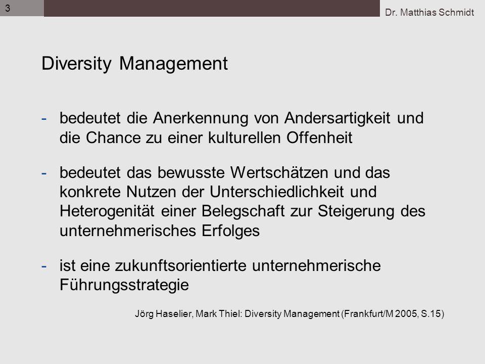 Dr. Matthias Schmidt 3 Diversity Management -bedeutet die Anerkennung von Andersartigkeit und die Chance zu einer kulturellen Offenheit -bedeutet das