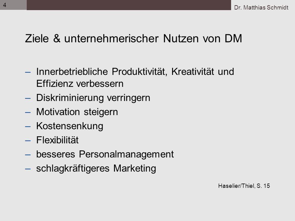 Dr. Matthias Schmidt 4 Ziele & unternehmerischer Nutzen von DM –Innerbetriebliche Produktivität, Kreativität und Effizienz verbessern –Diskriminierung