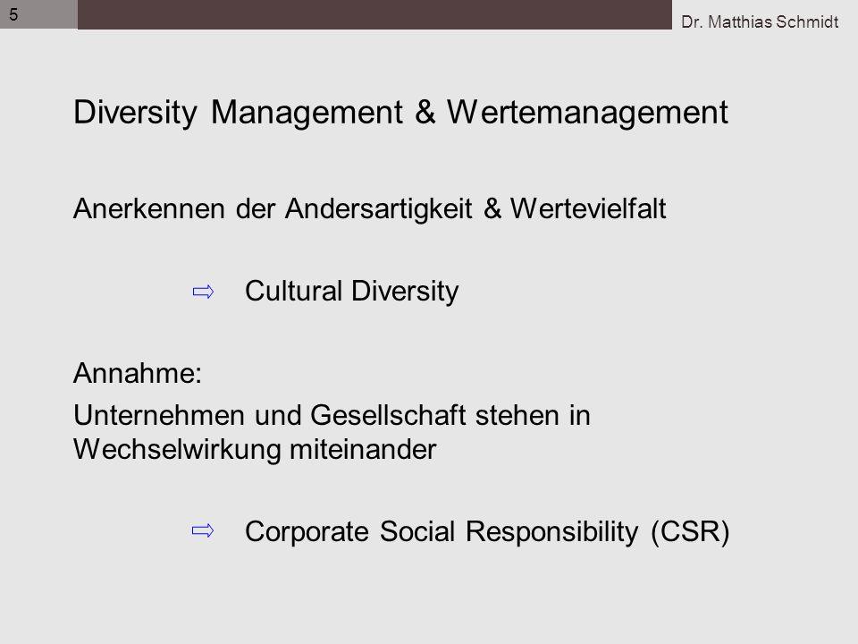 Dr. Matthias Schmidt 5 Diversity Management & Wertemanagement Anerkennen der Andersartigkeit & Wertevielfalt Cultural Diversity Annahme: Unternehmen u