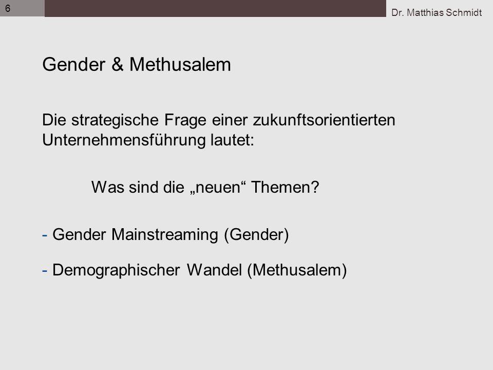 Dr. Matthias Schmidt 6 Gender & Methusalem Die strategische Frage einer zukunftsorientierten Unternehmensführung lautet: Was sind die neuen Themen? -