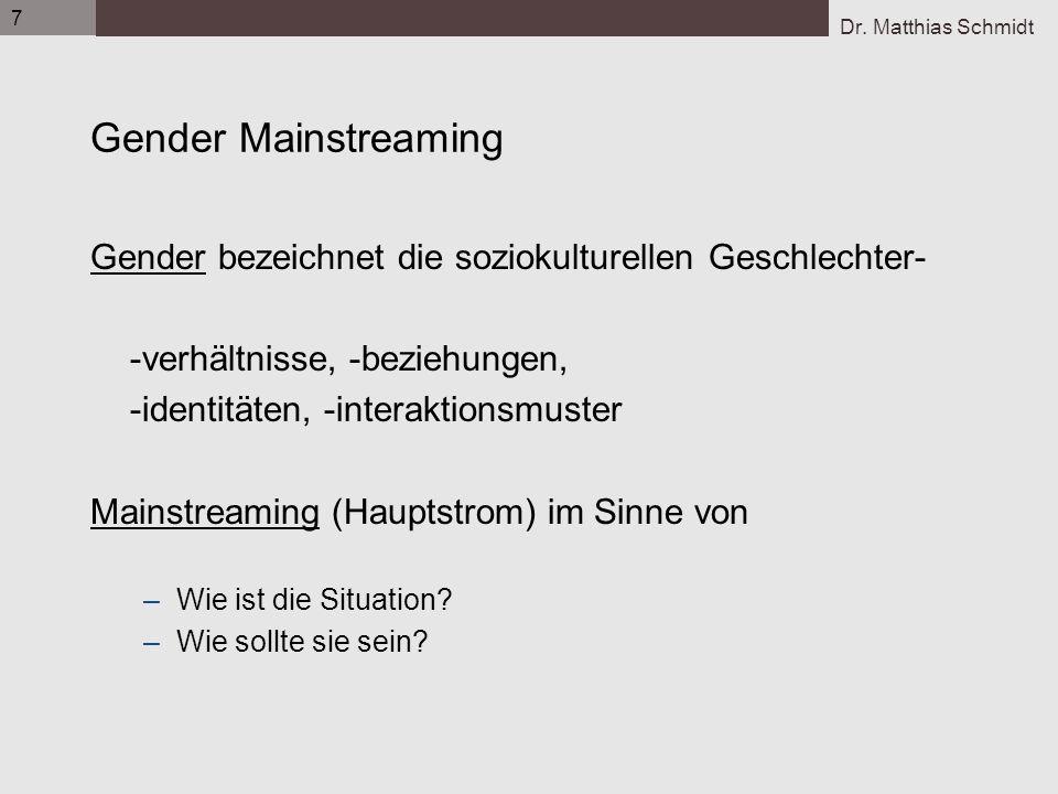Dr. Matthias Schmidt 7 Gender Mainstreaming Gender bezeichnet die soziokulturellen Geschlechter- -verhältnisse, -beziehungen, -identitäten, -interakti