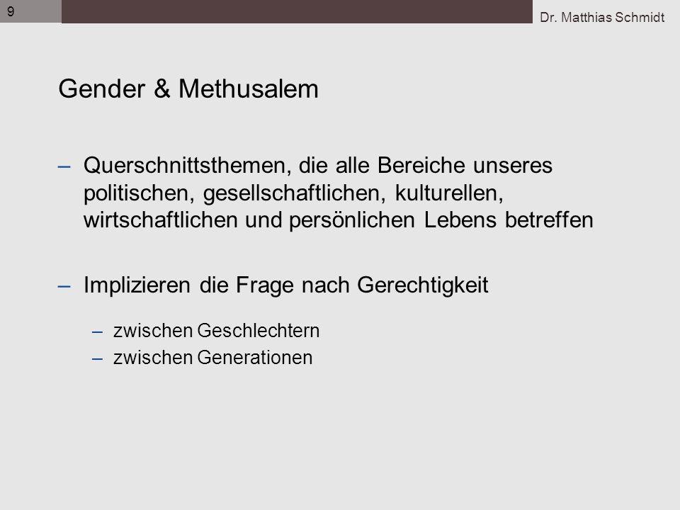 Dr. Matthias Schmidt 9 Gender & Methusalem –Querschnittsthemen, die alle Bereiche unseres politischen, gesellschaftlichen, kulturellen, wirtschaftlich