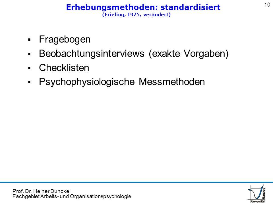 Prof. Dr. Heiner Dunckel Fachgebiet Arbeits- und Organisationspsychologie Fragebogen Beobachtungsinterviews (exakte Vorgaben) Checklisten Psychophysio