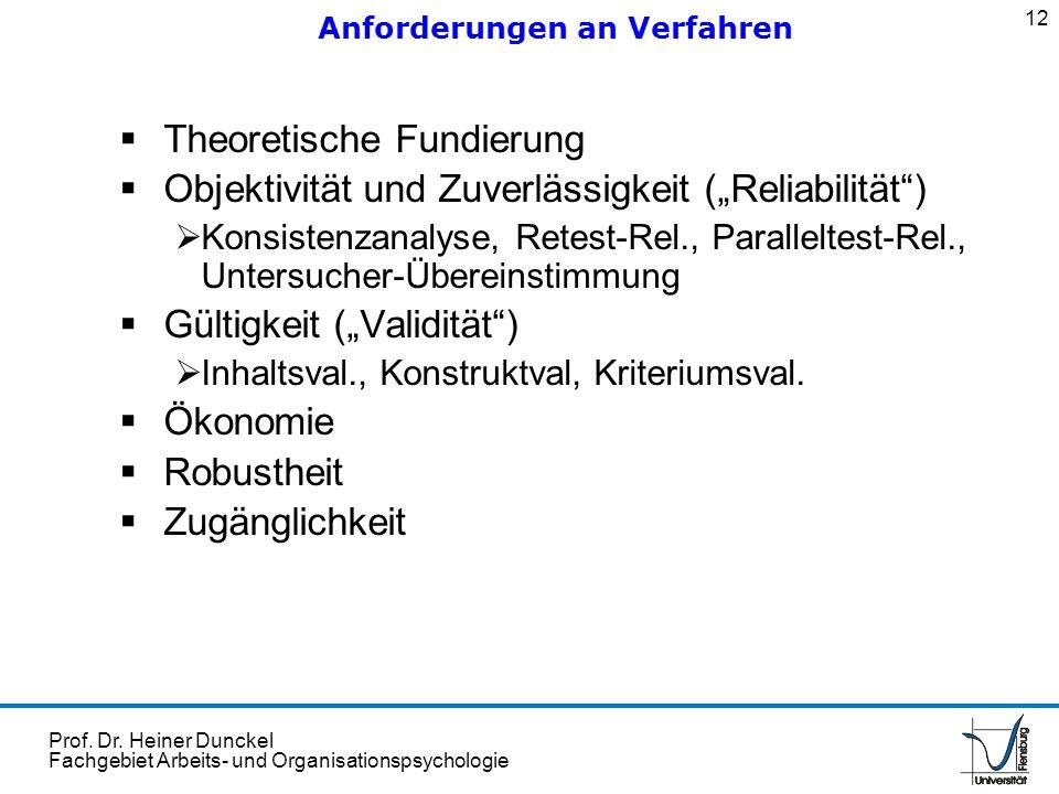 Prof. Dr. Heiner Dunckel Fachgebiet Arbeits- und Organisationspsychologie Theoretische Fundierung Objektivität und Zuverlässigkeit (Reliabilität) Kons