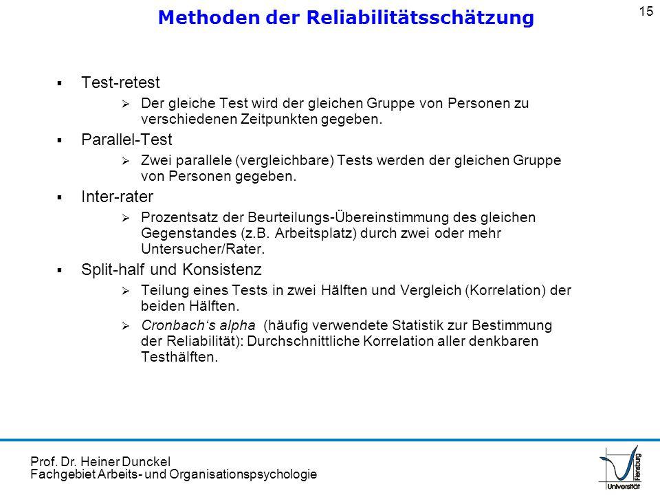 Prof. Dr. Heiner Dunckel Fachgebiet Arbeits- und Organisationspsychologie Test-retest Der gleiche Test wird der gleichen Gruppe von Personen zu versch