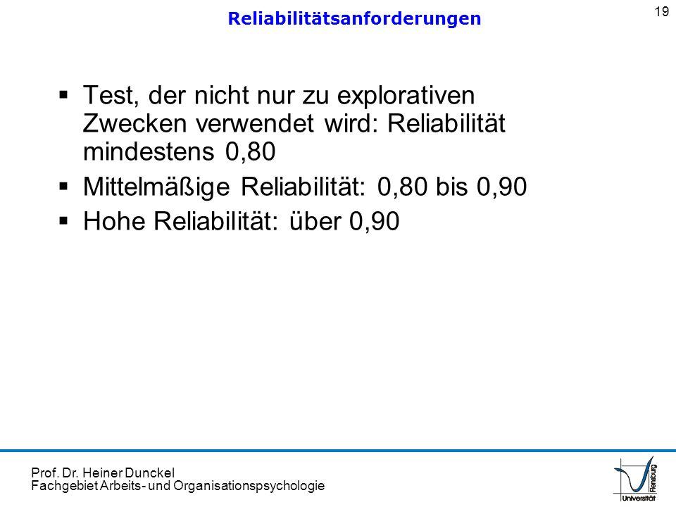 Prof. Dr. Heiner Dunckel Fachgebiet Arbeits- und Organisationspsychologie Test, der nicht nur zu explorativen Zwecken verwendet wird: Reliabilität min