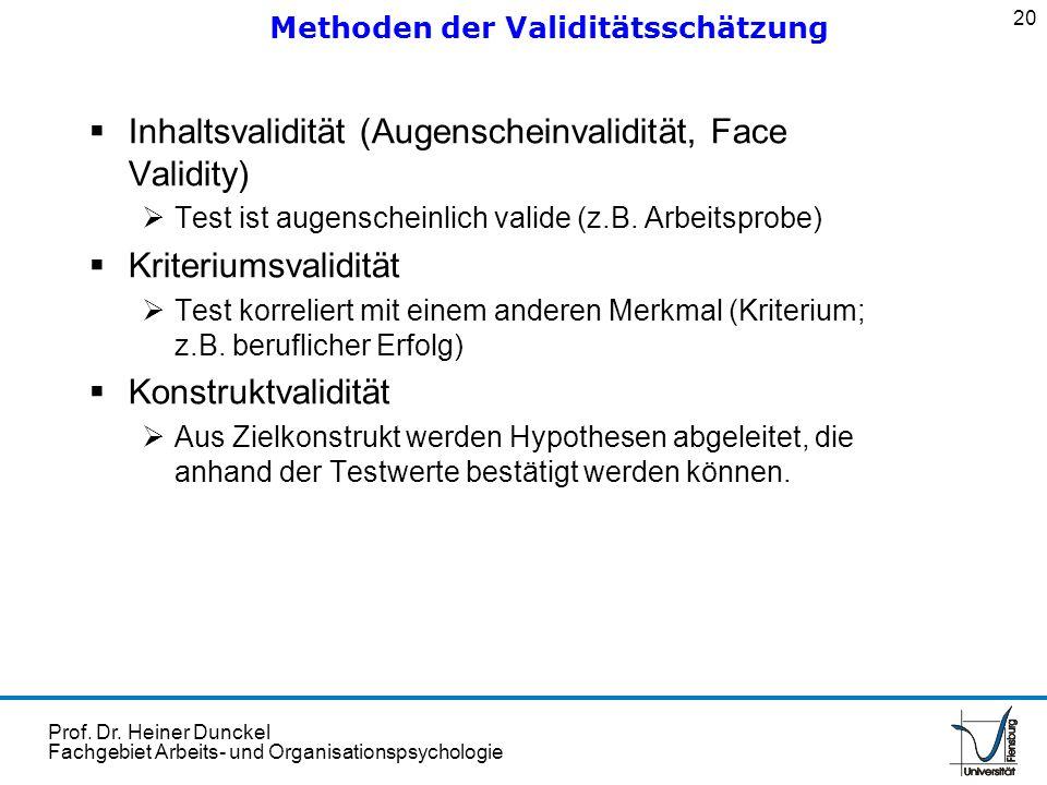 Prof. Dr. Heiner Dunckel Fachgebiet Arbeits- und Organisationspsychologie Inhaltsvalidität (Augenscheinvalidität, Face Validity) Test ist augenscheinl