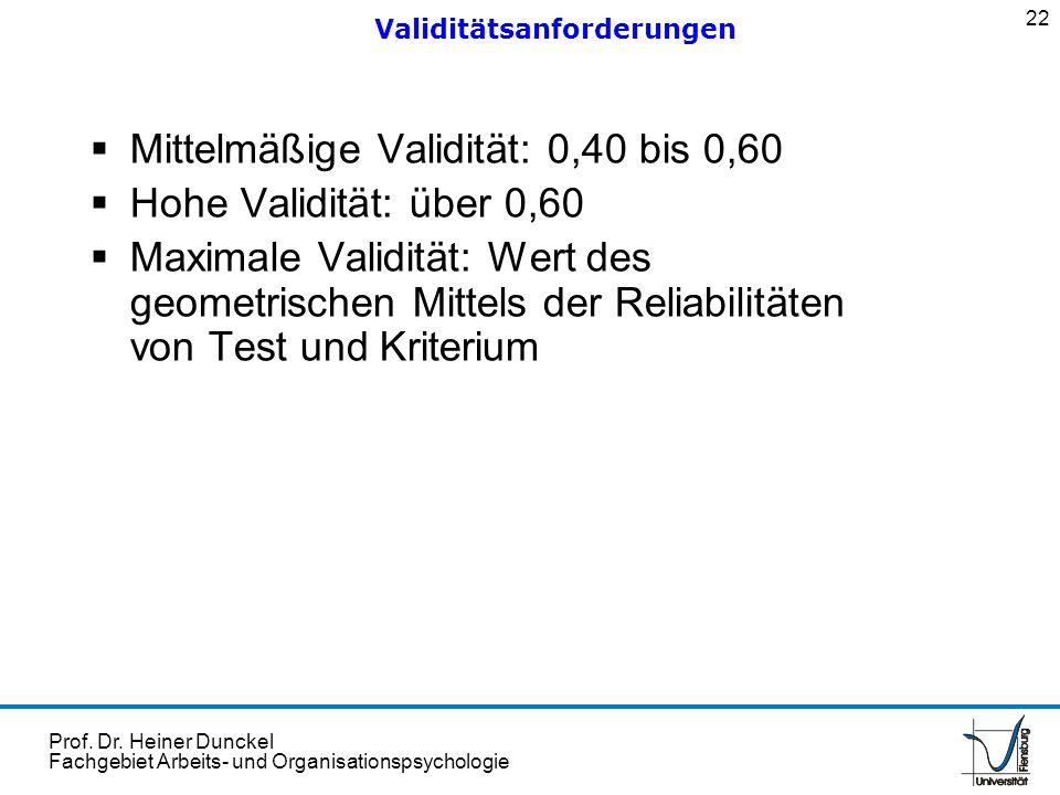 Prof. Dr. Heiner Dunckel Fachgebiet Arbeits- und Organisationspsychologie Mittelmäßige Validität: 0,40 bis 0,60 Hohe Validität: über 0,60 Maximale Val