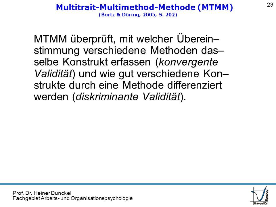 Prof. Dr. Heiner Dunckel Fachgebiet Arbeits- und Organisationspsychologie MTMM überprüft, mit welcher Überein– stimmung verschiedene Methoden das– sel