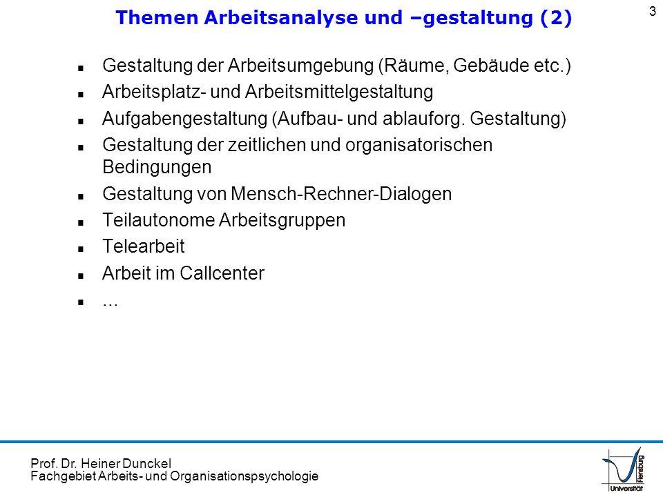 Prof. Dr. Heiner Dunckel Fachgebiet Arbeits- und Organisationspsychologie n Gestaltung der Arbeitsumgebung (Räume, Gebäude etc.) n Arbeitsplatz- und A