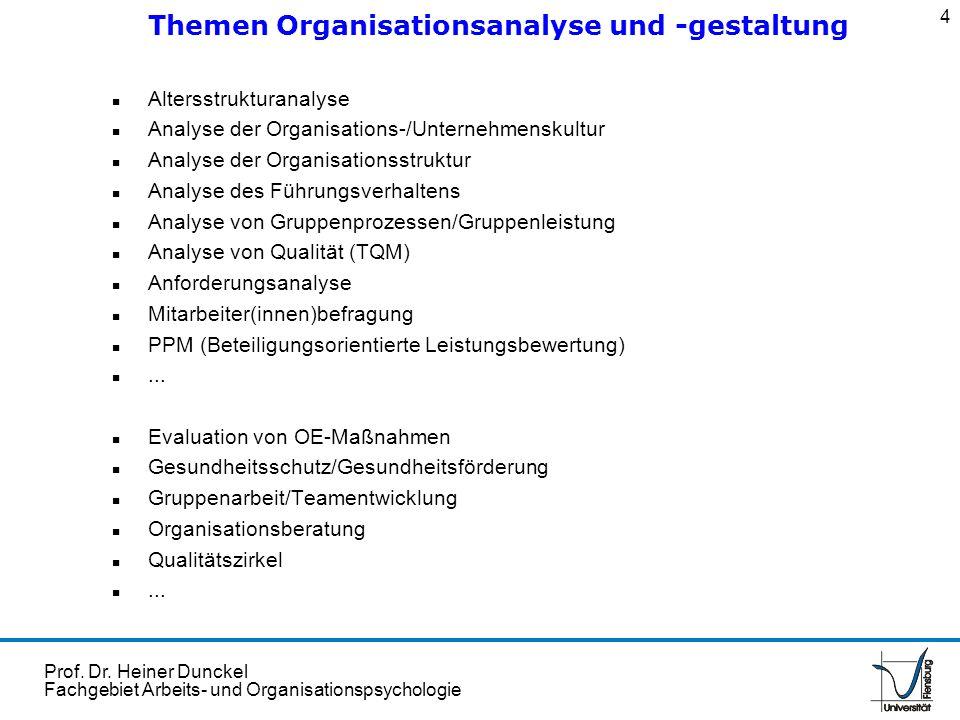Prof. Dr. Heiner Dunckel Fachgebiet Arbeits- und Organisationspsychologie n Altersstrukturanalyse n Analyse der Organisations-/Unternehmenskultur n An