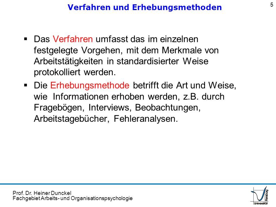 Prof. Dr. Heiner Dunckel Fachgebiet Arbeits- und Organisationspsychologie Das Verfahren umfasst das im einzelnen festgelegte Vorgehen, mit dem Merkmal
