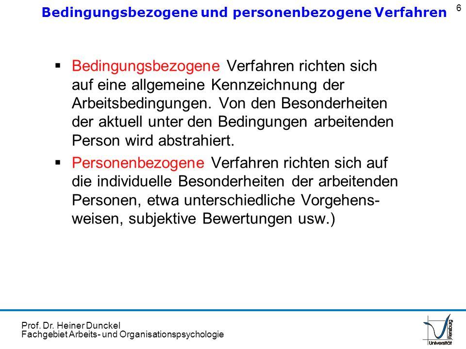 Prof. Dr. Heiner Dunckel Fachgebiet Arbeits- und Organisationspsychologie Bedingungsbezogene Verfahren richten sich auf eine allgemeine Kennzeichnung