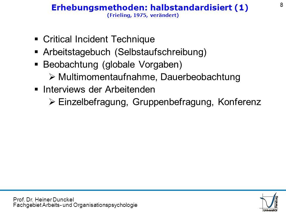 Prof. Dr. Heiner Dunckel Fachgebiet Arbeits- und Organisationspsychologie Critical Incident Technique Arbeitstagebuch (Selbstaufschreibung) Beobachtun