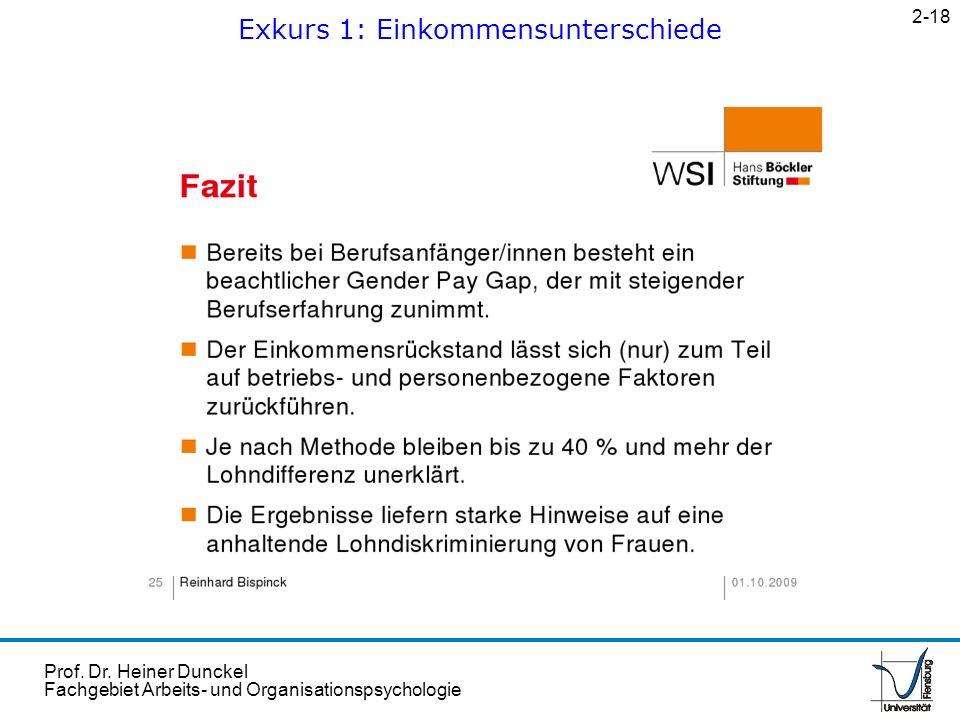 Prof. Dr. Heiner Dunckel Fachgebiet Arbeits- und Organisationspsychologie Exkurs 1: Einkommensunterschiede 2-18