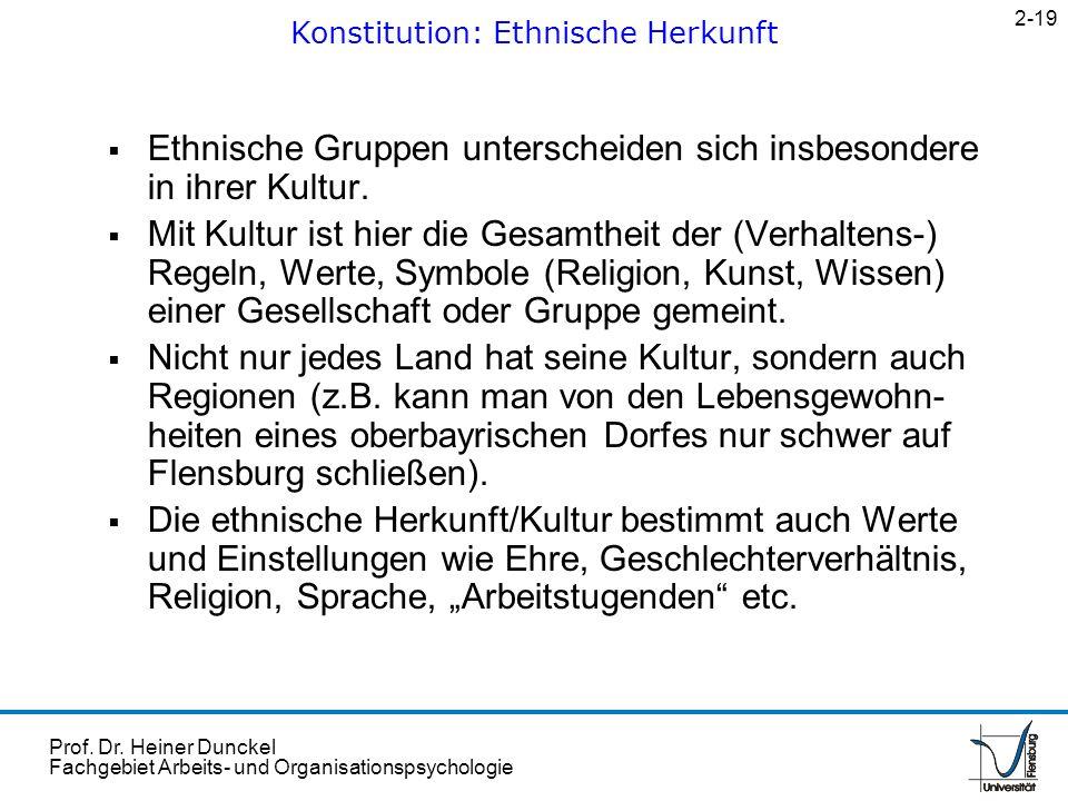 Prof. Dr. Heiner Dunckel Fachgebiet Arbeits- und Organisationspsychologie Ethnische Gruppen unterscheiden sich insbesondere in ihrer Kultur. Mit Kultu