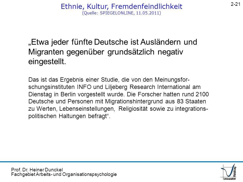 Prof. Dr. Heiner Dunckel Fachgebiet Arbeits- und Organisationspsychologie Ethnie, Kultur, Fremdenfeindlichkeit (Quelle: SPIEGELONLINE, 11.05.2011) 2-2