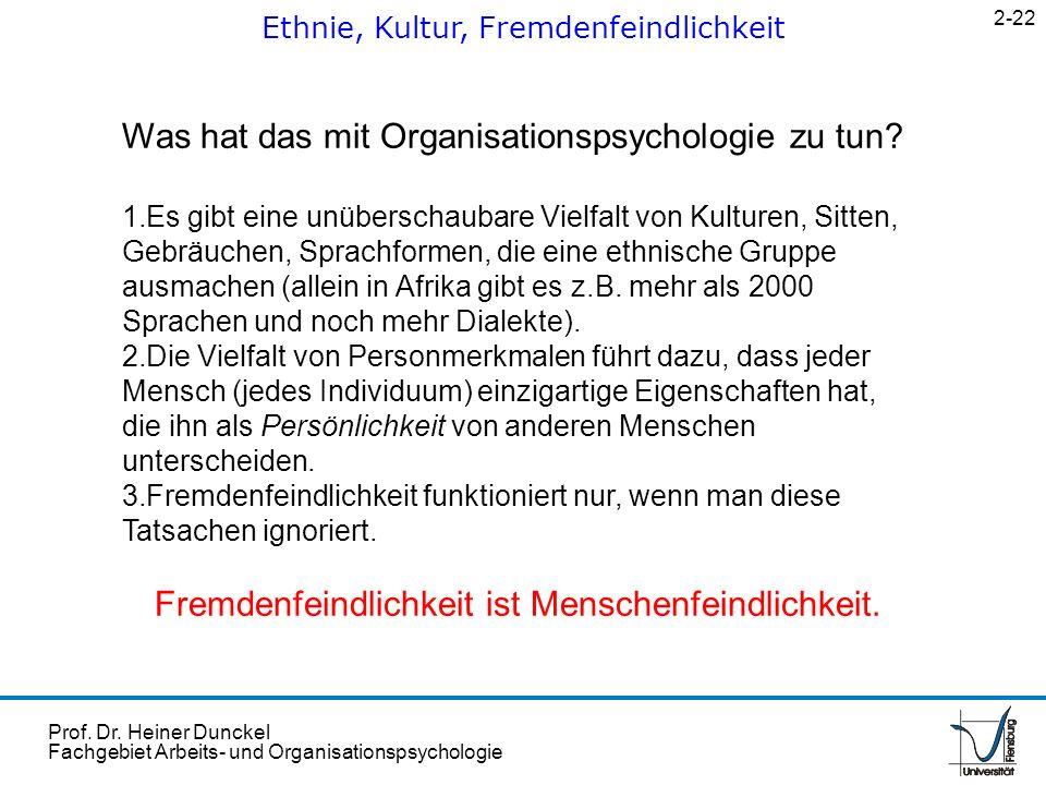 Prof. Dr. Heiner Dunckel Fachgebiet Arbeits- und Organisationspsychologie Ethnie, Kultur, Fremdenfeindlichkeit 2-22 Was hat das mit Organisationspsych