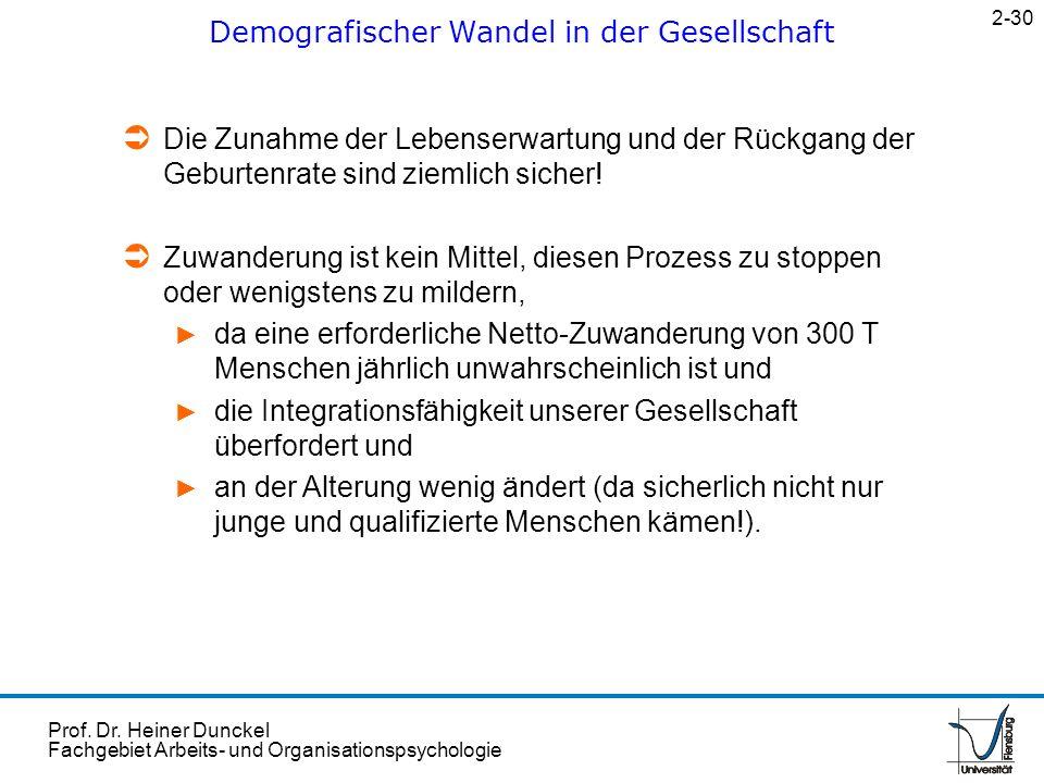 Prof. Dr. Heiner Dunckel Fachgebiet Arbeits- und Organisationspsychologie Demografischer Wandel in der Gesellschaft 2-30 Die Zunahme der Lebenserwartu