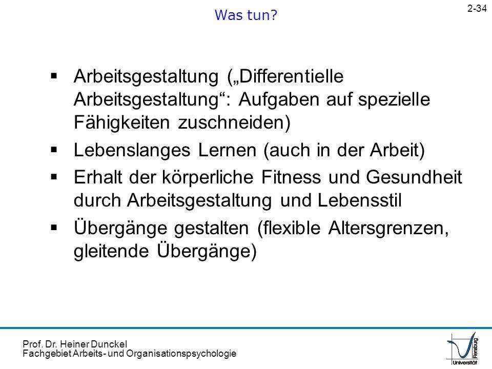 Prof. Dr. Heiner Dunckel Fachgebiet Arbeits- und Organisationspsychologie Arbeitsgestaltung (Differentielle Arbeitsgestaltung: Aufgaben auf spezielle