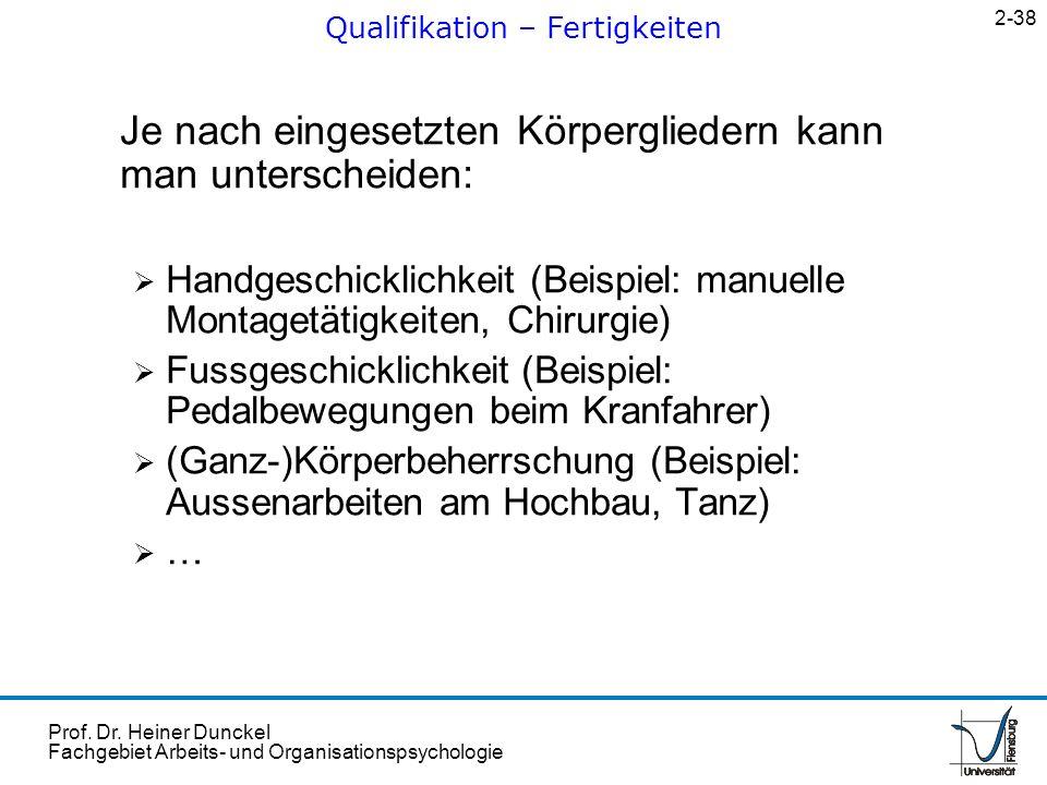 Prof. Dr. Heiner Dunckel Fachgebiet Arbeits- und Organisationspsychologie Je nach eingesetzten Körpergliedern kann man unterscheiden: Handgeschicklich