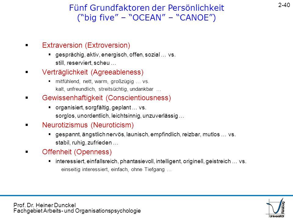 Prof. Dr. Heiner Dunckel Fachgebiet Arbeits- und Organisationspsychologie Extraversion (Extroversion) gesprächig, aktiv, energisch, offen, sozial … vs