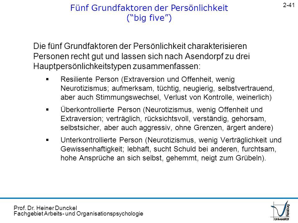 Prof. Dr. Heiner Dunckel Fachgebiet Arbeits- und Organisationspsychologie Die fünf Grundfaktoren der Persönlichkeit charakterisieren Personen recht gu
