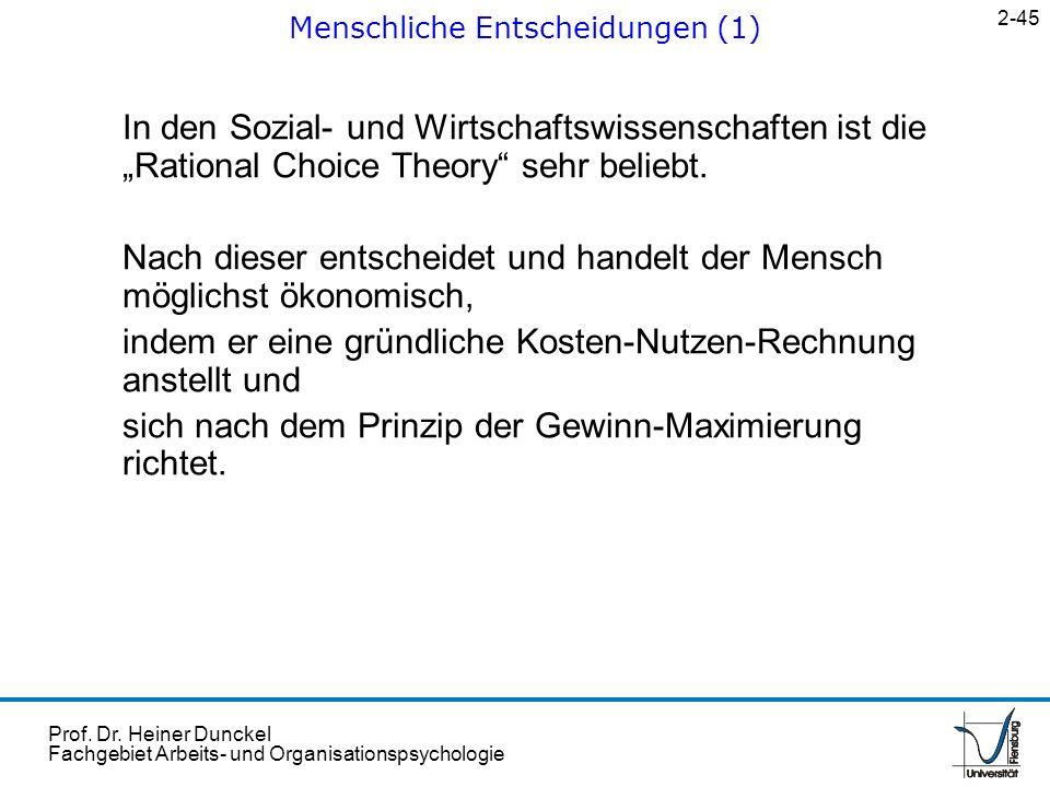 Prof. Dr. Heiner Dunckel Fachgebiet Arbeits- und Organisationspsychologie In den Sozial- und Wirtschaftswissenschaften ist die Rational Choice Theory