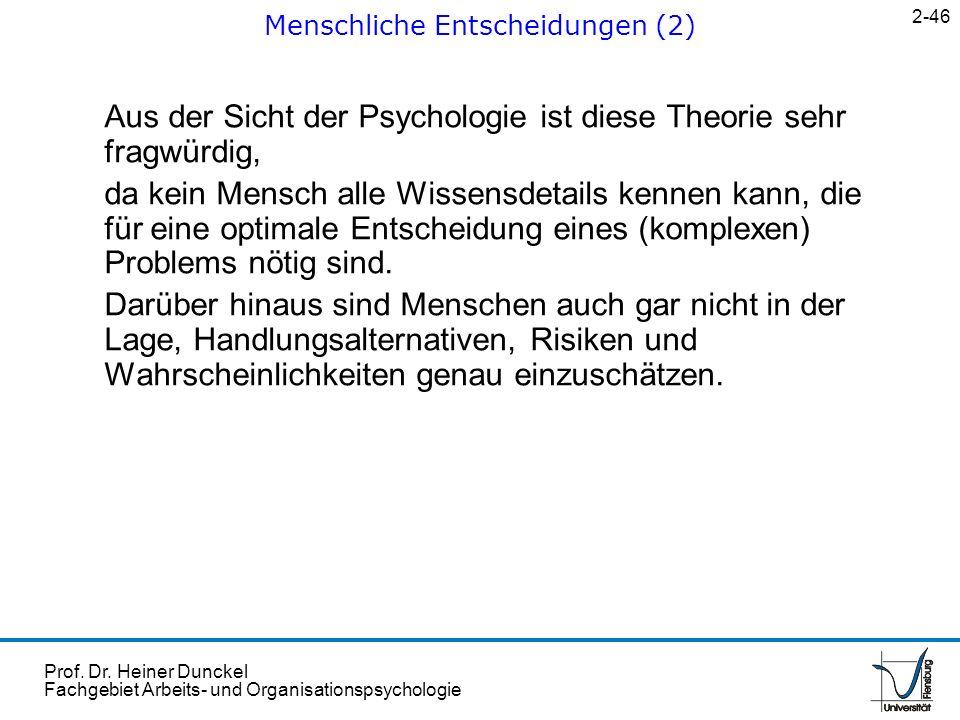 Prof. Dr. Heiner Dunckel Fachgebiet Arbeits- und Organisationspsychologie Aus der Sicht der Psychologie ist diese Theorie sehr fragwürdig, da kein Men
