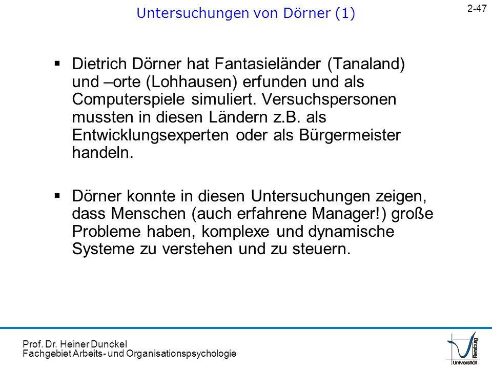 Prof. Dr. Heiner Dunckel Fachgebiet Arbeits- und Organisationspsychologie Dietrich Dörner hat Fantasieländer (Tanaland) und –orte (Lohhausen) erfunden