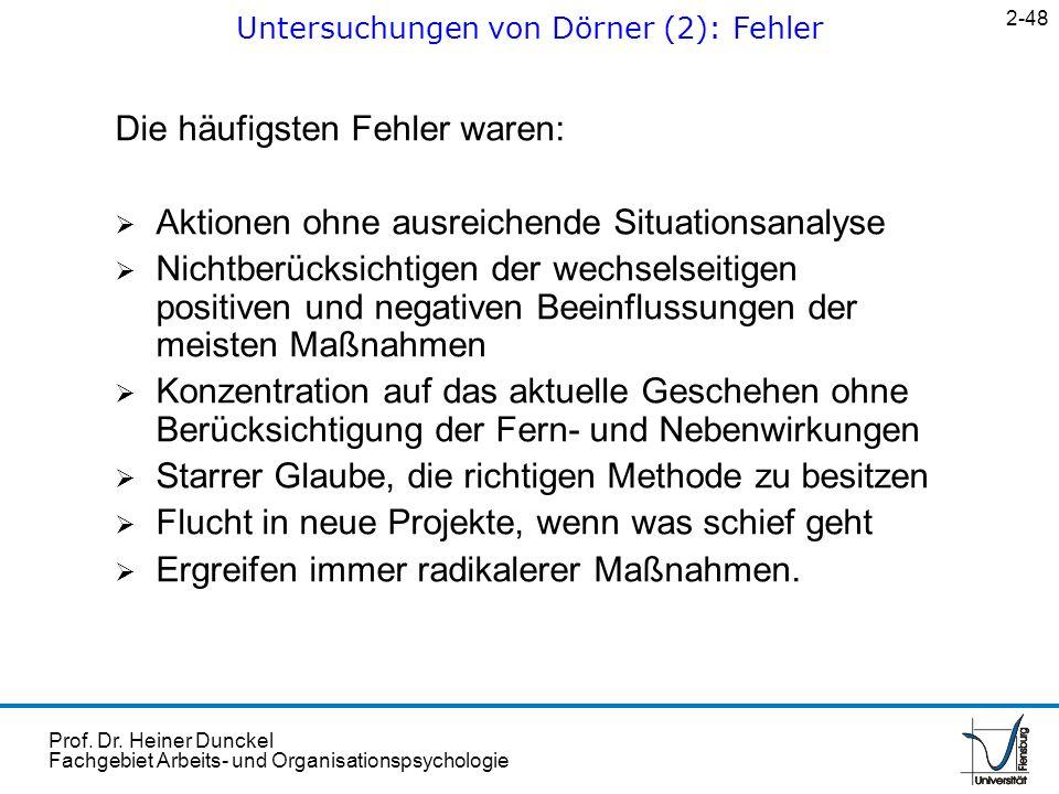 Prof. Dr. Heiner Dunckel Fachgebiet Arbeits- und Organisationspsychologie Die häufigsten Fehler waren: Aktionen ohne ausreichende Situationsanalyse Ni