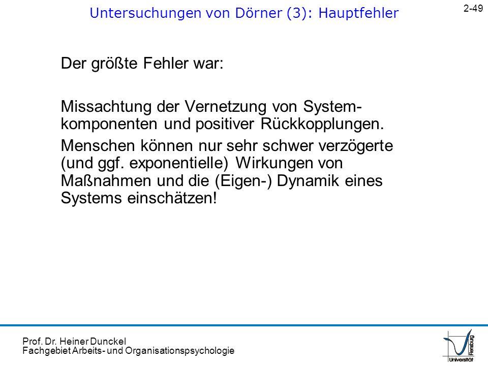 Prof. Dr. Heiner Dunckel Fachgebiet Arbeits- und Organisationspsychologie Der größte Fehler war: Missachtung der Vernetzung von System- komponenten un