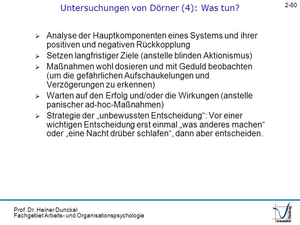Prof. Dr. Heiner Dunckel Fachgebiet Arbeits- und Organisationspsychologie Analyse der Hauptkomponenten eines Systems und ihrer positiven und negativen