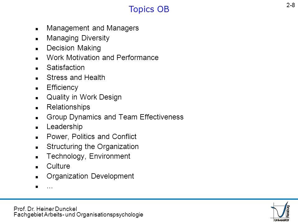 Prof. Dr. Heiner Dunckel Fachgebiet Arbeits- und Organisationspsychologie n Management and Managers n Managing Diversity n Decision Making n Work Moti