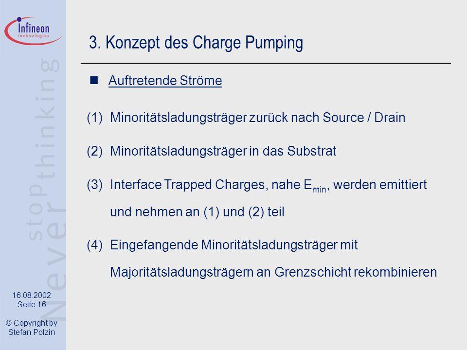 16.08.2002 Seite 16 © Copyright by Stefan Polzin 3. Konzept des Charge Pumping Auftretende Ströme (1)Minoritätsladungsträger zurück nach Source / Drai