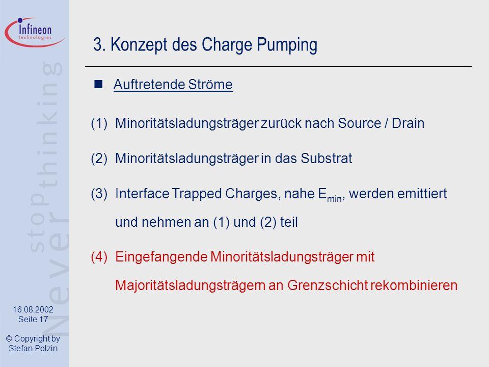 16.08.2002 Seite 17 © Copyright by Stefan Polzin 3. Konzept des Charge Pumping Auftretende Ströme (1)Minoritätsladungsträger zurück nach Source / Drai