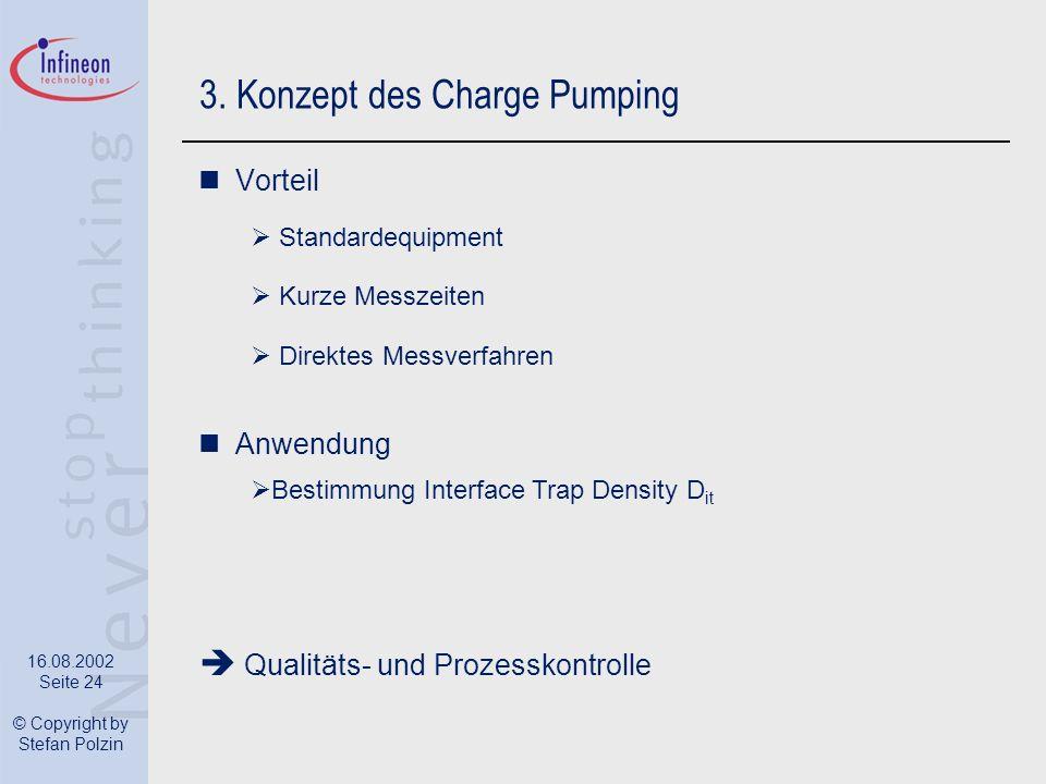 16.08.2002 Seite 24 © Copyright by Stefan Polzin 3. Konzept des Charge Pumping Vorteil Standardequipment Kurze Messzeiten Direktes Messverfahren Anwen