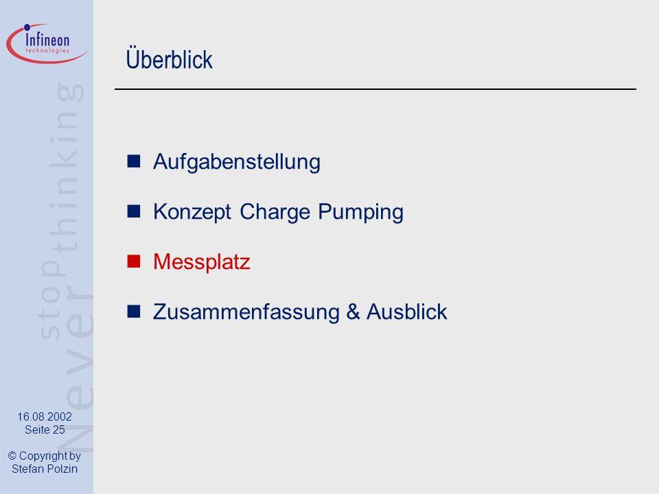16.08.2002 Seite 25 © Copyright by Stefan Polzin Überblick Aufgabenstellung Konzept Charge Pumping Messplatz Zusammenfassung & Ausblick