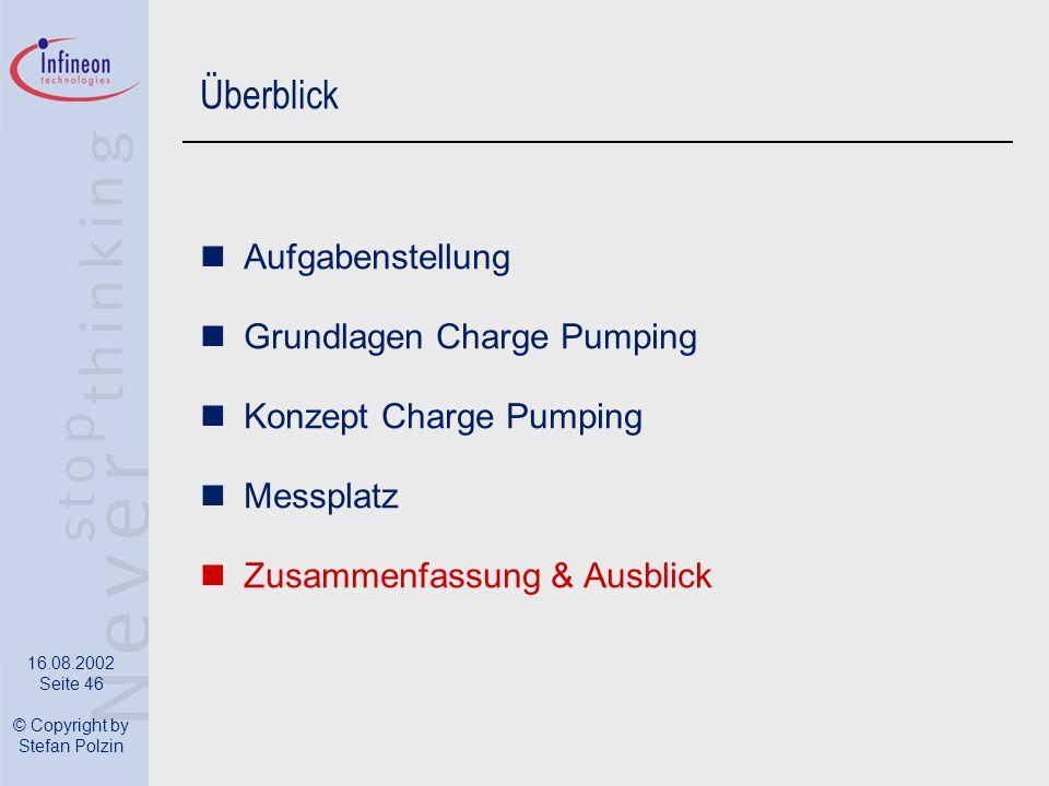 16.08.2002 Seite 46 © Copyright by Stefan Polzin Überblick Aufgabenstellung Grundlagen Charge Pumping Konzept Charge Pumping Messplatz Zusammenfassung