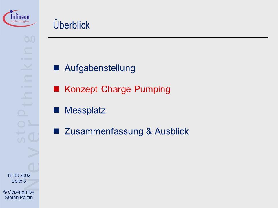 16.08.2002 Seite 8 © Copyright by Stefan Polzin Überblick Aufgabenstellung Konzept Charge Pumping Messplatz Zusammenfassung & Ausblick