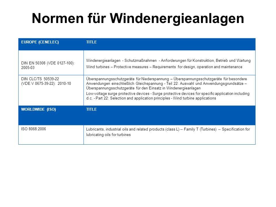 Normen für Windenergieanlagen EUROPE (CENELEC)TITLE DIN EN 50308 (VDE 0127-100): 2005-03 Windenergieanlagen - Schutzmaßnahmen - Anforderungen für Kons