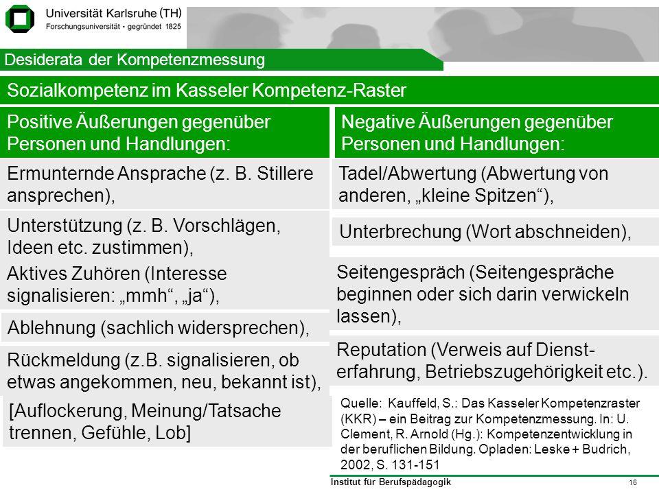 Institut für Berufspädagogik 16 Struktur Desiderata der Kompetenzmessung Sozialkompetenz im Kasseler Kompetenz-Raster Positive Äußerungen gegenüber Pe
