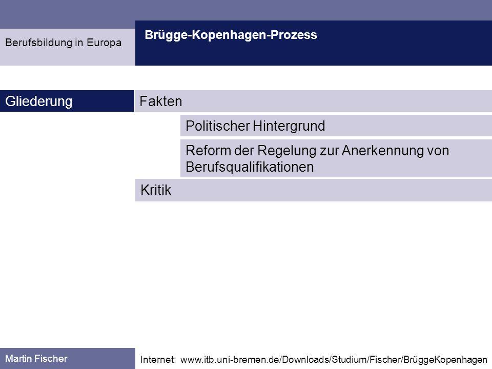 Brügge-Kopenhagen-Prozess Fakten Martin Fischer Quelle:: http://europa.eu.int/scadplus/leg/de/cha/c11065.htm Europäischer Rat von Lissabon (März 2000) Entschließung, bis zum Jahr 2010 in Europa den dynamischsten und wettbewerbsfähigsten Wirtschaftsraum der Welt zu schaffen Berufsbildung in Europa Europäischer Rat von Stockholm (2001) Forderung an die EU-Kommission, eine Richtlinie für die Anerkennung von Berufsqualifikationen vorzulegen EU-KommissionVorschlag für eine Richtlinie des Europäischen Parlaments und des Rates vom 7.