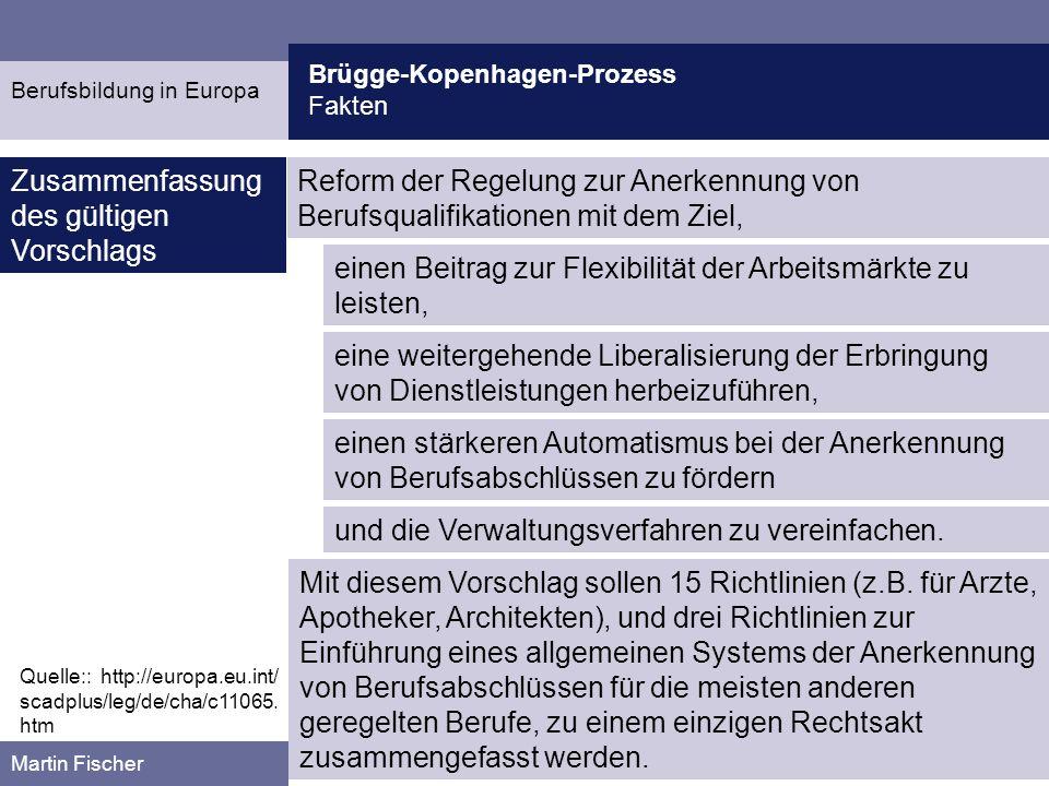 Brügge-Kopenhagen-Prozess Kritik Martin Fischer Quelle:: Rauner, F./ Grollmann, P.: Einheitlicher Qualifikationsrahmen im Brügge/Kopenhagen-Prozess zwischen Schulabschluss und Kompetenz.