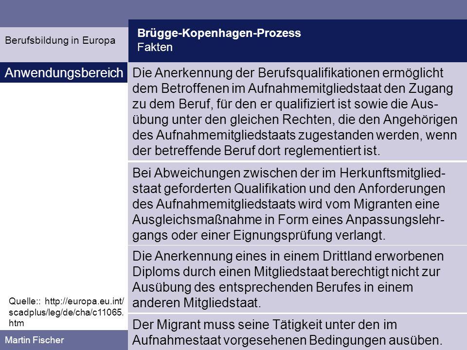 Brügge-Kopenhagen-Prozess Kritik Martin Fischer Kritik Berufsbildung in Europa Die Arbeitsteilung in modernen, kundenorientierten Arbeits- und Geschäftsprozessen ist verhältnismäßig flach organisiert.