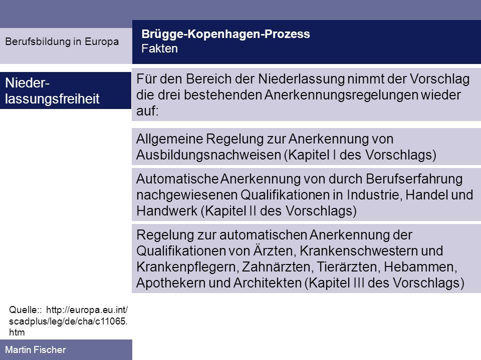 Brügge-Kopenhagen-Prozess Fakten Martin Fischer Quelle:: http://europa.eu.int/ scadplus/leg/de/cha/c11065.