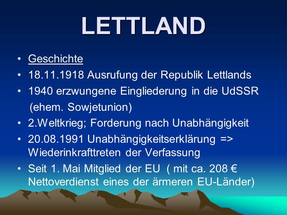LETTLAND Geschichte 18.11.1918 Ausrufung der Republik Lettlands 1940 erzwungene Eingliederung in die UdSSR (ehem. Sowjetunion) 2.Weltkrieg; Forderung