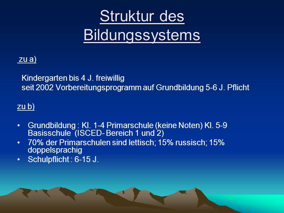Struktur des Bildungssystems zu a) Kindergarten bis 4 J. freiwillig seit 2002 Vorbereitungsprogramm auf Grundbildung 5-6 J. Pflicht zu b) Grundbildung