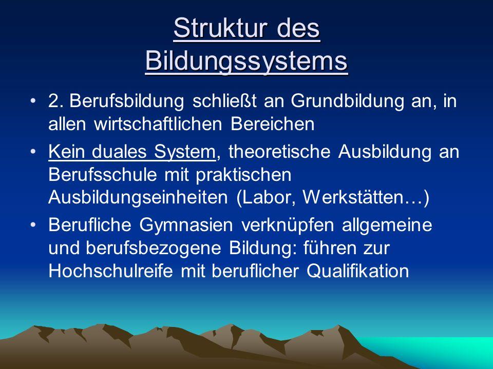 Struktur des Bildungssystems 2. Berufsbildung schließt an Grundbildung an, in allen wirtschaftlichen Bereichen Kein duales System, theoretische Ausbil